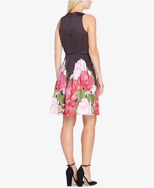 f412c7d4b7209 Tahari ASL Floral Satin Fit & Flare Dress & Reviews - Dresses ...