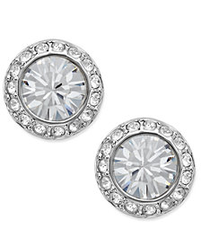 Swarovski Earrings Silver Tone Crystal Circle Stud