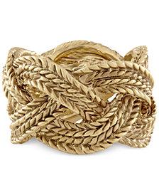 RACHEL Rachel Roy Gold-Tone Rope Band Ring