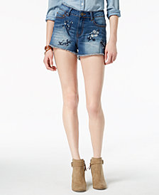 Indigo Rein Juniors' Floral-Embroidered Denim Shorts