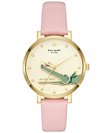 kate spade new york Women's Monterrey Pink Leather Strap Watch 38mm