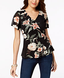 Thalia Sodi Printed Peplum Wrap Top, Created for Macy's