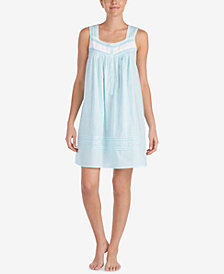 Eileen West Woven Cotton Lace-Trim Nightgown