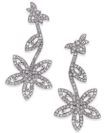 I.N.C. Silver-Tone Pavé Flower Drop Earrings, Created for Macy's