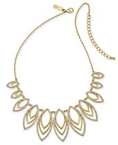 """I.N.C. Gold-Tone Pavé Navette Statement Necklace, 18"""" + 3"""" extender, Created for Macy's"""