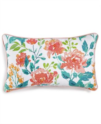 """LAST ACT! Deborah 14"""" x 26"""" Embroidered Floral-Print Decorative Pillow, Created for Macy's"""