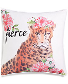 "LAST ACT! Lacourte Fierce 20"" Square Graphic-Print Decorative Pillow, Created for Macy's"