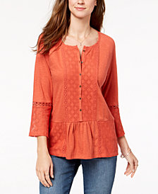 Style & Co Lace-Embellished Bell-Sleeve Tunic, Created for Macy's