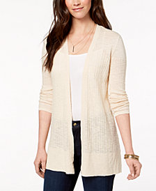Style & Co Petite Cotton Pointelle-Knit Cardigan, Created for Macy's
