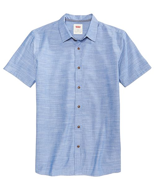 3ca6ca3667 Levi s Men s Slim-Fit Chambray Shirt   Reviews - Casual Button-Down ...