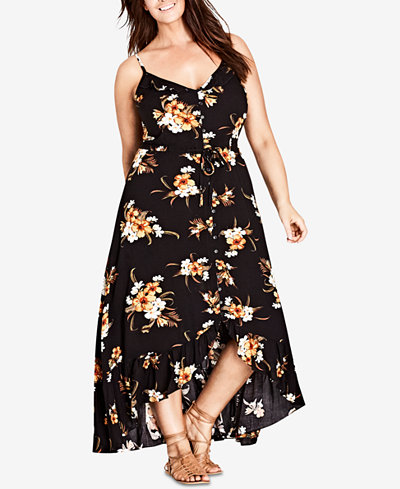 City Chic Trendy Plus Size Ruffle-Trim Maxi Dress