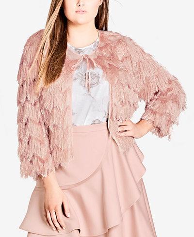 City Chic Trendy Plus Size Scalloped Fringe Jacket