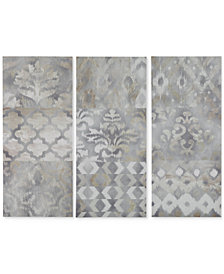 Madison Park Watercolor Ikat Taupe 3-Pc. Gel-Coated Print Set