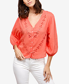 Lucky Brand Cotton Eyelet Peasant Blouse