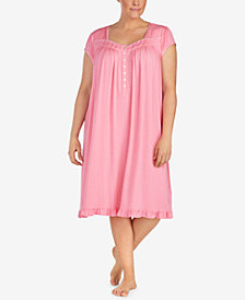 Eileen West Waltz Plus Size Contrast-Lace Knit Nightgown