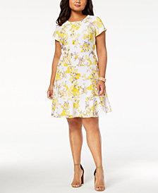 Jessica Howard Plus Size Floral-Print Fit & Flare Dress