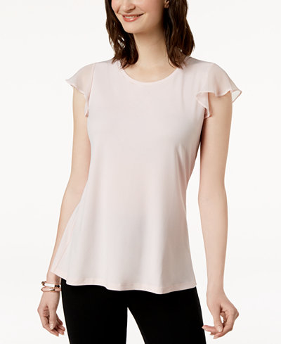 Charter Club Crew-Neck Flutter-Sleeve Top, Created for Macy's