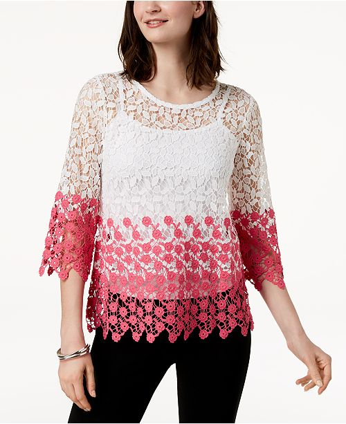 Top Macy's Bright Colorblocked for White Charter Petite Club Created Lace wqax4CR