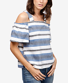 Lucky Brand Cotton Cold-Shoulder Top