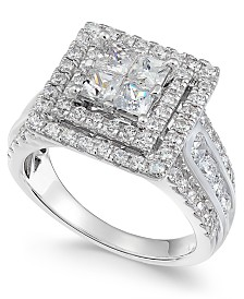Diamond Princess Halo Ring (2 ct. t.w.) in 14k White Gold