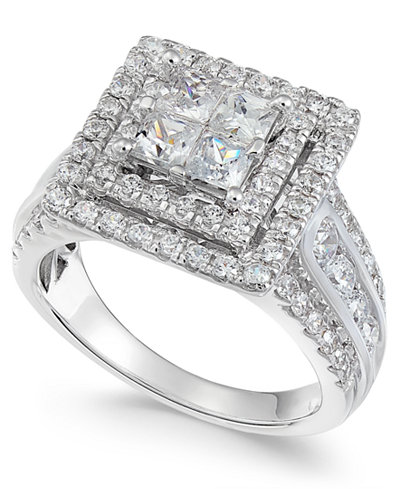 Diamond Princess Halo Ring (2 ct. t.w.) in 14k White Gold