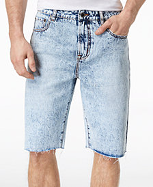 LRG Men's Make Jeans Not War Premium-Fit Raw-Edge Denim Shorts