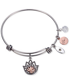 "Unwritten ""She Had Faith She Would Not Fail"" Lotus Charm Adjustable Bangle Bracelet in Two-Tone Stainless Steel"
