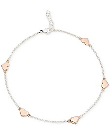 Two-Tone Heart Anklet in Sterling Silver and 18k Rose Gold-Plate, Created for Macy's