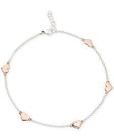 Giani Bernini Two-Tone Heart Anklet in Sterling Silver and 18k Rose Gold-Plate, Created for Macy's