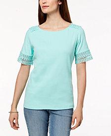 Karen Scott Cotton Lace-Trim T-Shirt, Created for Macy's