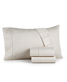 CLOSEOUT! Hotel Collection Modern Grid Cotton 525-Thread Count 4-Pc. Queen Sheet Set, Created for Macy's