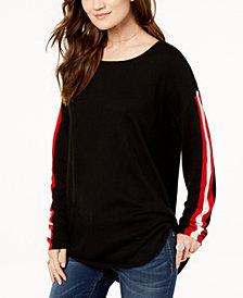 I.N.C. Scoop-Neck Varsity-Stripe Sweater, Created for Macy's