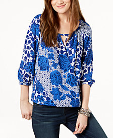I.N.C. Printed Surplice Keyhole Peasant Top, Created for Macy's