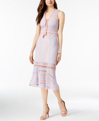 foxiedox Lace-Up Crochet Midi Dress