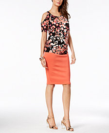 Thalia Sodi Printed Cold-Shoulder Top & Scuba Pencil Skirt, Created for Macy's