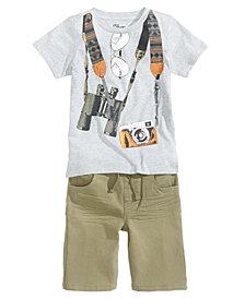 Epic Threads Graphic-Print T-Shirt & Denim Shorts Separates, Little Boys, Created for Macy's