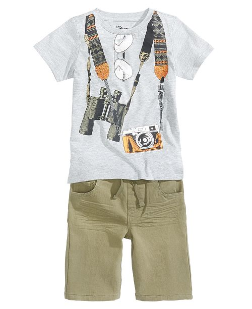 Graphic-Print T-Shirt & Denim Shorts Separates, Little Boys, Created for Macy's