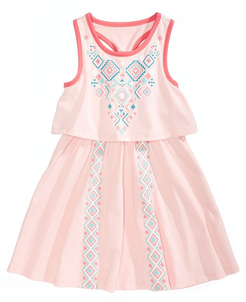 Epic Threads Popover Geo-Print Dress, Little Girls, Created for Macy's
