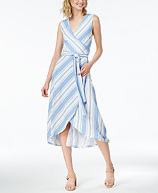 Bar III Striped Faux-Wrap Dress, Created for Macy's