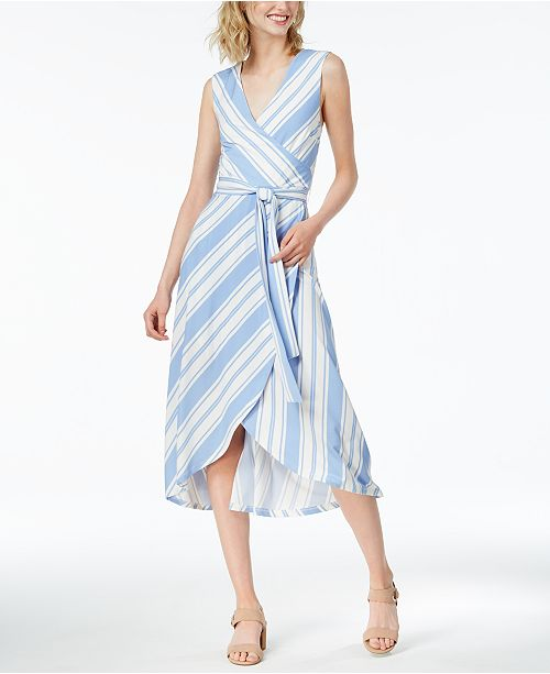 Striped Faux-Wrap Dress, Created for Macy's
