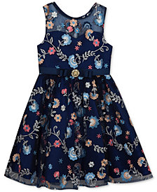 Rare Editions Floral-Embroidery Dress, Little Girls