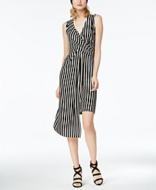 Bar III Striped Asymmetrical Wrap Dress, Created for Macy's