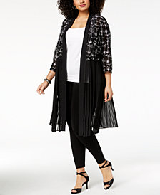 Alfani Plus Size Embroidered Kimono, Created for Macy's