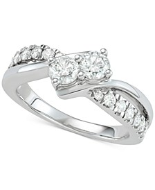 Diamond Two-Stone Diamond Engagement Ring (1 ct. t.w.) in 14k White Gold