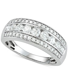 Diamond Three-Row Band (1 ct. t.w.) in 14k White Gold