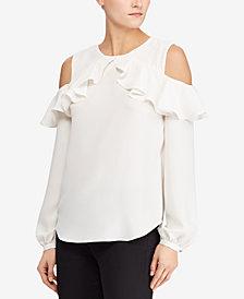 Lauren Ralph Lauren Georgette Cold-Shoulder Ruffled Top