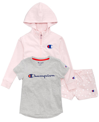 Champion Heritage Zip-Up Hoodie, Logo-Print T-Shirt & Printed Shorts, Little Girls