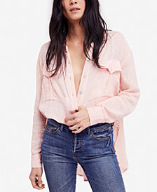 Free People Talk To Me Crinkled Frayed-Hem Shirt