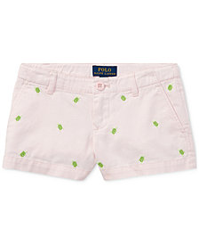 Ralph Lauren Turtle Cotton Chino Shorts, Little Girls