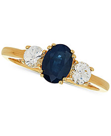 Sapphire (1 ct. t.w.) & White Sapphire (5/8 ct. t.w.) Ring in 14k Gold
